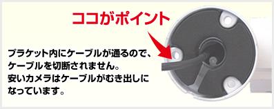 ココがポイント!プラケット内にケーブルが通るので、ケーブルを切断されません。安いカメラはケーブルがむき出しになっています。